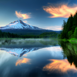 Mt. Hood at dusk by William Lee - Landscapes Waterscapes ( clouds, mountain, fog, sunset, trees, reflections, lake,  )