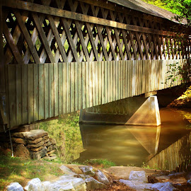 Covered Bridge by Rebecca Russett - Landscapes Waterscapes