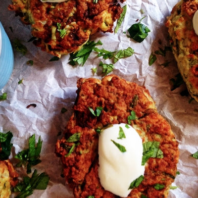 Chicken Fritters with Haloumi and Zucchini