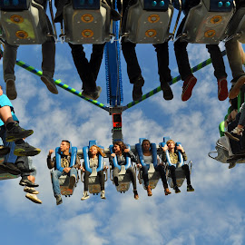 I Can Touch The Sky by Marco Bertamé - City,  Street & Park  Amusement Parks ( funfair, clouds, sky, blue sky, schueberfouer, in the air, seats, legs, people, luxembourg )