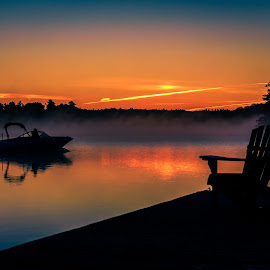 Morning Boat Ride by Rob Taylor - Transportation Boats ( calm, lake, morning, boat, dock )