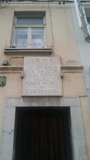 Ljubljana Presern Plaque