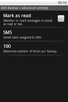 Screenshot of SMS Backup