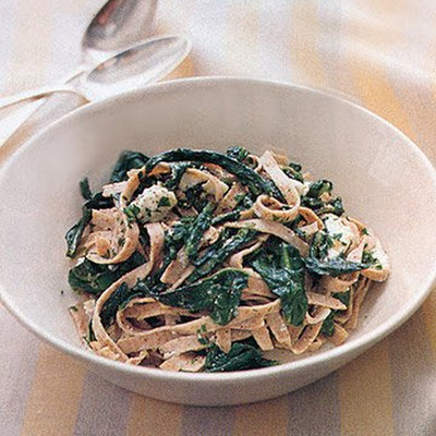 Whole Wheat Fettucine with Dandelion Greens, Goat Cheese, and Roasted Garlic