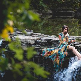 Fairy by Martina Havlickova - People Portraits of Women ( #portrait, #waterfall, #fairy, #outdoorportrait, #fall )