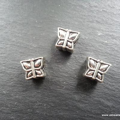 European Bead Silver Colour Butterfly Bead x1