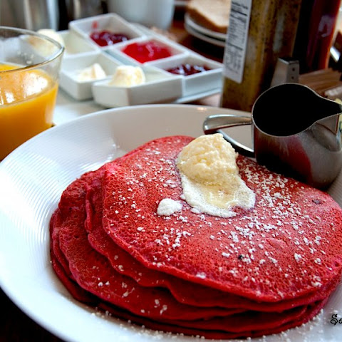 Red Velvet Pancakes with Cream Cheese Frosting Recipe | Yummly