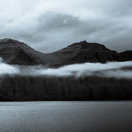 Hælavíkurbjarg by Árni Haraldsson - Landscapes Cloud Formations ( icelandic, westfjords, iceland, sky, black and white, horn )