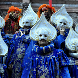 Venetian masks by J & M - People Musicians & Entertainers ( costumes, person, europe, illustration, masks, image, people, venetian, womens, blue, venice, carnivale, men, view, group, italy )