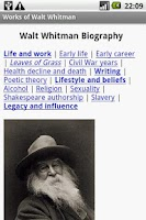Screenshot of Works of Walt Whitman