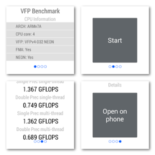 VFP Benchmark for Android Wear - screenshot