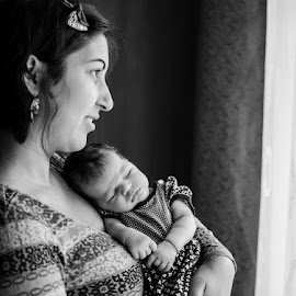 Mommy's girl by Adrian Podaru - People Family ( window, black and white, baby girl, todler, newborn )