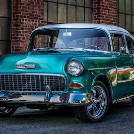 55 Bel Aire by Evelyn San - Transportation Automobiles ( car, canon, neptune green, hdr, vintage, high def, chevy, cruise, bel aire, contrast, classic car, belaire, color, classic )