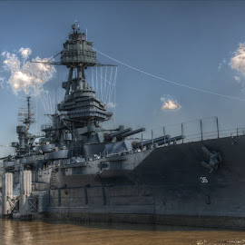The Texas by Michael McMurray - Transportation Boats ( docked, jack, san jacinto, texas, houston, us navy, gun, military, mast, naval, warship, moored, battleship, artillery )