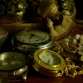 Timekeepers by Dyana-Marie Dyke - Artistic Objects Antiques ( lace, candle, red, doll, chain, watch, jewelry, gold, watches, close up, bullet, doiley )