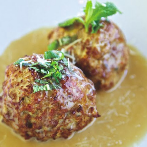 Lamb Meatballs With Foie Gras Sauce, Mint And Pecorino