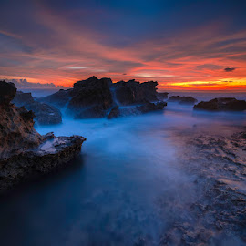 Fire Sky by Jose Hamra - Landscapes Waterscapes ( slowspeed, waterscape, sunset, taraje, beach, sunrise, landscape, bayah, rocks,  )