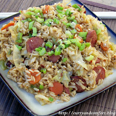 Asian Cabbage and Kielbasa Fried Rice