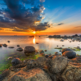 Sunrise by Alexander Stoyanov - Landscapes Sunsets & Sunrises ( clouds, reflections, sea, ships, sunrise, stones )