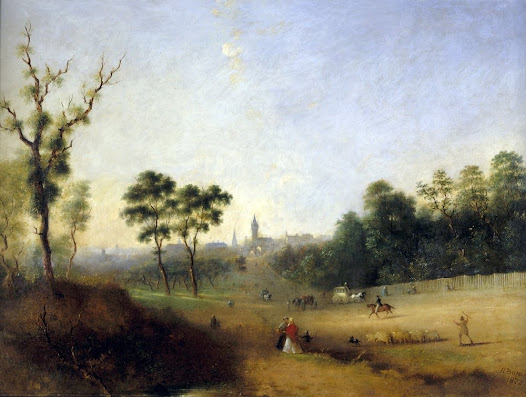 Melbourne from Wellington Parade East Melbourne looking north west, oil on canvas, 1872.