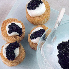 Toasted Brioche Rounds with Creme Fraiche and Caviar