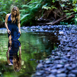 Redwood Creek by Marco Dennis - People Portraits of Women ( water, reflection, dress, woman, creek, forest, redwood )