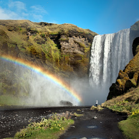 Skogafoss - Iceland by Jude Stewart - Landscapes Waterscapes ( iceland, waterfall, rainbows, reflections, skogafoss, high quality, in focus,  )