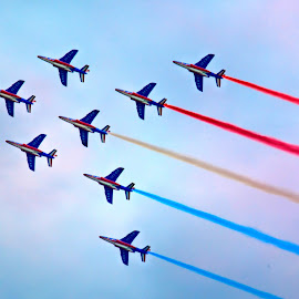 red white blue planes, Paris Airshow by Marjorie Speiser - Transportation Airplanes ( red, blue, airplane, white, airshow )