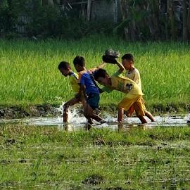 Play In Rice Field by Ibnu Hibban - Babies & Children Children Candids