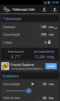 Screenshot of Telescope Calc