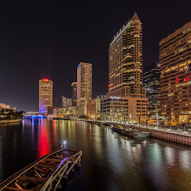 Tampa Riverwalk by Lynn Wiezycki - City,  Street & Park  Skylines ( skyline, hillsborough river, tampa, reflections, night )