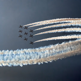 RA 1  by Kelly Murdoch - Transportation Airplanes ( red arrows, sky, ztam photography, trail, air display, display, isle of wight, smoke trail, planes )