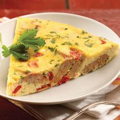 al fresco Roasted Pepper and Asiago Chicken Sausage Frittata