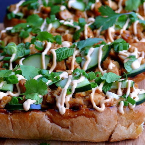 BBQ Chicken and Yam Open Face Sandwich