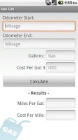 Screenshot of Gas Mileage Calculator
