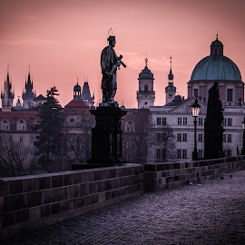 Charles Bridge by Joe Adams - City,  Street & Park  Skylines ( spire, dome, sunrise, bridge, prague, charles bridge,  )