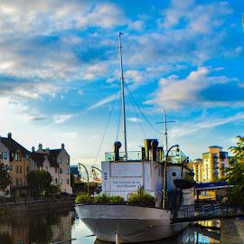 River boat restaurant Water of Leith Edinburgh. by Lyndsay Hepburn - Transportation Boats ( edinburghriverboatleith, harbourrestaurantleithedinburgh, waterofleithriverboatrestaurant, boatreataurantleith, riverboatrestaurant )