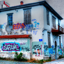 An old house by Stratos Lales - City,  Street & Park  Neighborhoods ( old, colourful, graffiti, traditional, house )