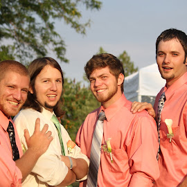 men by Shawn Taylor - Wedding Groups ( friends, wedding, pink, men, groom )