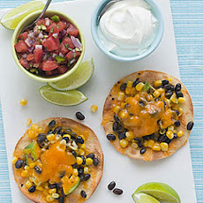 Corn, Avocado and Black Bean Tostadas