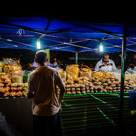 Street Vendor by Adrian Choo - City,  Street & Park  Street Scenes ( vendor, street, festival, night, titbits, light )