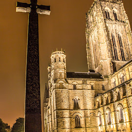 Durham Cathederal and cross at night by Colin Waite - Buildings & Architecture Places of Worship ( durham catederal church religion cross tower stone night )