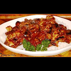 Sautéed Eggplant and Pork in Tomato Sauce on Rice