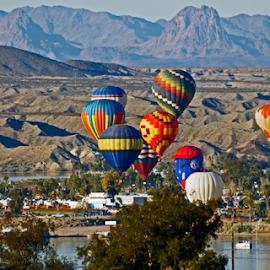 Hot Air Balloon Over The River by Tina Hailey - News & Events Entertainment ( hot air balloon river lake havasu az )
