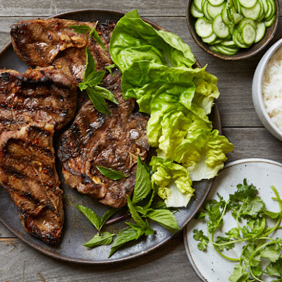 Grilled Sichuan Cumin Lamb Chops with Quick Pickled Cucumbers