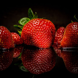 Red Fruit. by Dale Pausinga - Food & Drink Fruits & Vegetables ( reflection, red, raspberry, strawberry, , selective color, pwc )