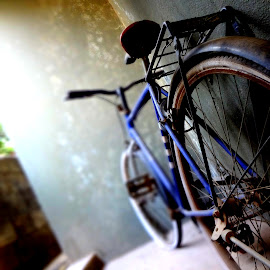 NOSTALGIA by Adarsh K - Transportation Bicycles ( expression, old, wheel, still life, wheels, bicycle, bicycles, fence, gear, composition, nostalgia, childhood, nostalgic, objects, wall )