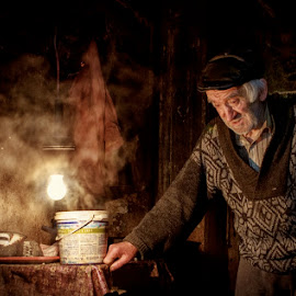 Olderness heavy clothes by Mirela Savu - People Portraits of Men ( old man; portret, romania, old people, man )