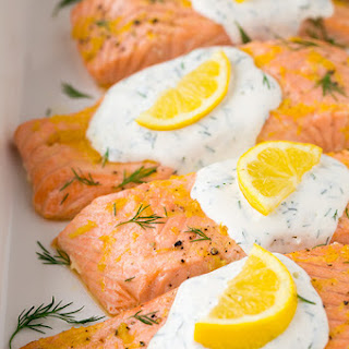Baked Lemon Salmon with Creamy Dill Sauce