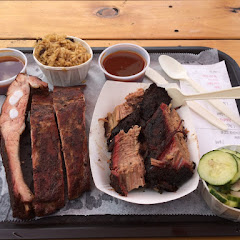 This is the two meat platter with spare ribs and brisket. Sides were cucumber salad (which was a tad